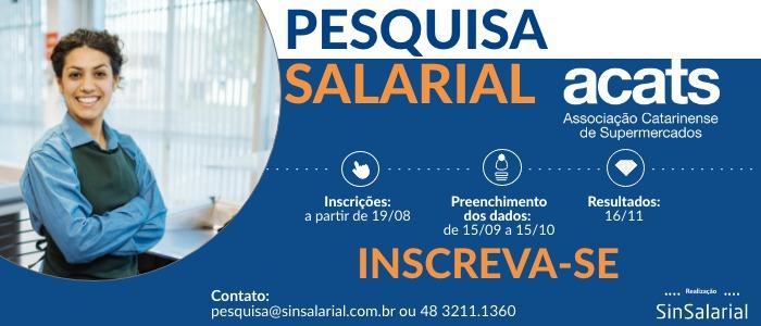 ACATS realiza pesquisa salarial em parceria com a SinSalarial
